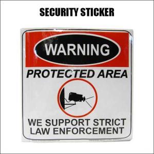 防犯ステッカー【WARNING PROTECTED AREA】防犯カメラ 防犯シール デカール セキュリティー ネコポス発送可能|aicamu