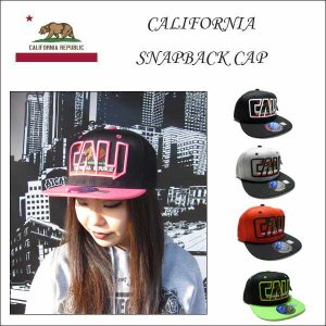 #07 CALI 抜き文字刺繍キャップ(スナップバックキラキラタイプ)大人サイズ 全6色 帽子 アメリカ直輸入CALIFORNIA カリフォルニア雑貨|aicamu
