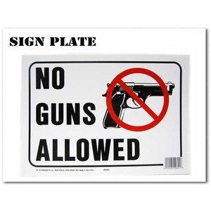 サインプレート【NO GUNS ALLOWED(銃を許可しない)】飾るだけでおしゃれでアメリカンなボード★ネコポス発送可能|aicamu