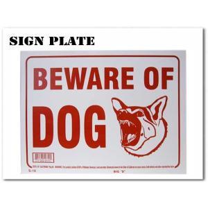 サインプレート BEWARE OF THE DOG ホワイト(犬に用心) ドッグ 犬 アメリカン ボード ネコポス発送可能|aicamu