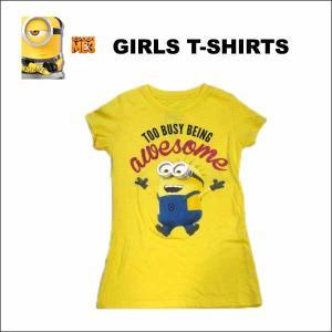 ミニオンガールズTシャツ(イエローTOO BUSY BEING AWESOME 130/140) キッズ子供用半袖|aicamu