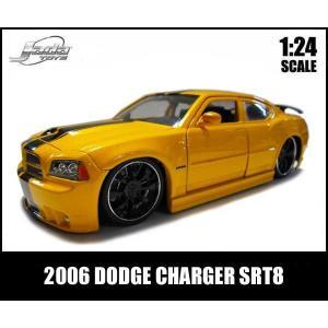 ミニカー 1/24 2006 DODGE CHARGER SRT8 ブラックスポーク イエロー ダッジチャージャー アメ車|aicamu