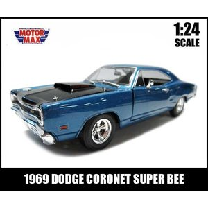 ミニカー 1/24 箱入り 1969 DODGE CORONET SUPER BEE ダークブルー アメ車 ダッジ コロネット スーパービー|aicamu