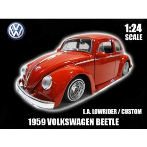 1/24 ミニカー 1959 VOLKSWAGEN BEETLE リアルデイトンカスタム(レッド)1959年 フォルクスワーゲンビートル ローライダー|aicamu