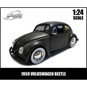 ミニカー 1/24 1959 VOLKSWAGEN BEETLE ムーンホイール ガンメタリック VW フォルクスワーゲンビートル|aicamu