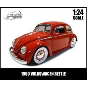ミニカー 1/24 1959 VOLKSWAGEN BEETLE ムーンホイール レッド VW フォルクスワーゲンビートル|aicamu