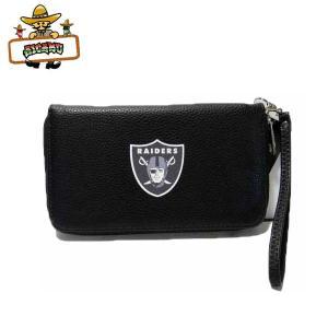 オークランド レイダース ラウンドファスナー財布(オールブラック)NFL RAIDERS ウォレット|aicamu
