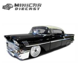 ミニカー 1/24 箱入り 1958 CHEVY IMPALA ブラック ホワイトウォールタイヤ シェビー インパラ アメ車|aicamu