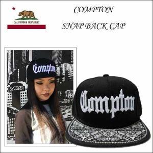 #41 COMPTON スナップバックキャップ(ペイズリーバイザーブラック)コンプトン 大人サイズ カリフォルニア ローライダー帽子|aicamu
