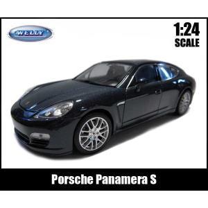 【箱傷み有】1/24 箱入り ダイキャストミニカー Porsche Panamera S(ダークブルー)ポルシェ パナメーラ WELLY|aicamu