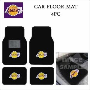 ロサンゼルスレイカーズ 4ピースカーフロアマット(カーペット素材)フロア&バックシート用 NBA Los Angeles Lakers|aicamu