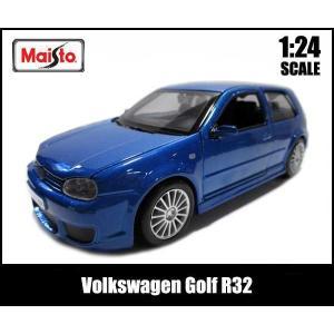 1/24 箱入り ミニカー Volkswagen Golf R32(ブルー) VW  フォルクスワーゲン ゴルフ 青 Maisto|aicamu