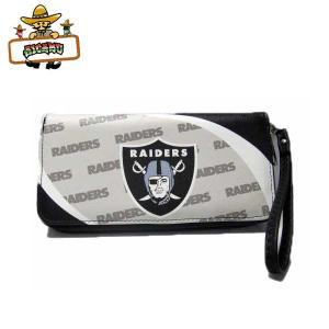 オークランド レイダース ラウンドファスナー 財布 (ベージュブラック) NFL RAIDERS ウォレット|aicamu
