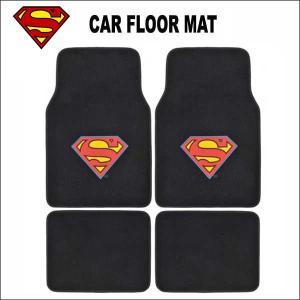 スーパーマン 4ピースカーフロアマット 車内グッズ SUPER MAN グッズ アメ車 汎用|aicamu