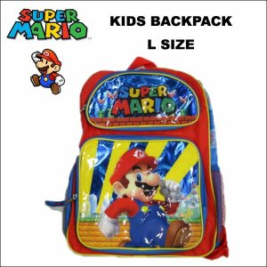 スーパーマリオ グッズ バックパック(2ポケット:ブルーLサイズ41cm) リュックサック 遠足 子供用 旅行|aicamu