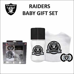 レイダース ベビーギフト3点セット(KICKOFFCOLECTION) NFL RAIDERS 出産祝い スタイ おしゃぶり 哺乳瓶|aicamu