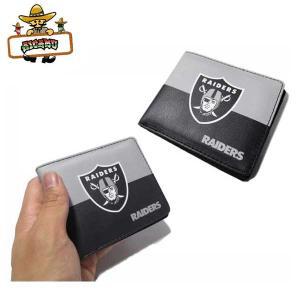 OAKLAND RAIDERS 二つ折りフェイクレザー財布(ブラック・グレー) NFL オークランドレイダース ウォレット ネコポス発送可能|aicamu
