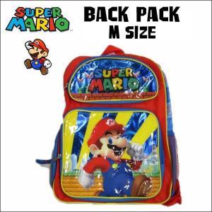 スーパーマリオ グッズ バックパック(2ポケット:ブルーMサイズ32cm) リュックサック 遠足 子供用 旅行|aicamu