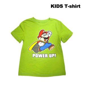 スーパーマリオキッズTシャツ(POWER UP!/ライトグリーン)(120) マリオグッズ アメリカ直輸入 ネコポス発送可能|aicamu
