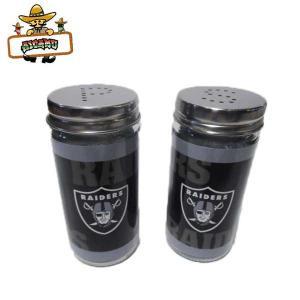 オークランド レイダース ガラス ソルト&ペッパー OAKLAND RAIDERS NFL公式ライセンス 塩コショウ入れ アメリカ直輸入品|aicamu