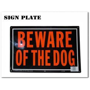 サインプレート BEWARE OF THE DOG オレンジ&ブラック(アルミ製) 看板 サインボード|aicamu