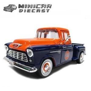 ミニカー 1/24 箱入り 1955 CHEVY 5100 STEPSIDE Gulf Livery (オレンジ/ネイビー)  シェビーステップサイド ガルフ石油 MOTORMAX aicamu