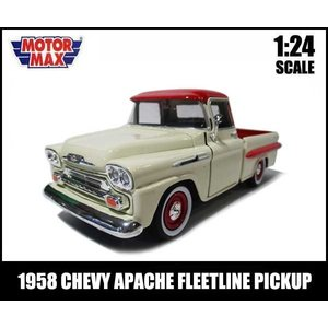 ミニカー 1/24 箱入り 1958 CHEVY APACHE FLEETSIDE PICKUP(クリームxレッド) シェビー アパッチ フリートサイド MOTOR MAX|aicamu
