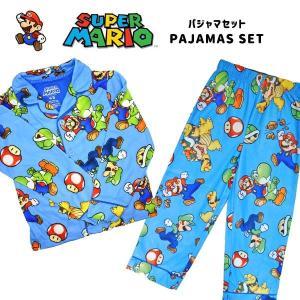 スーパーマリオ パジャマ 上下セット(前ボタン/長袖) 100.110サイズ マリオ グッズ キッズ 子供 前ボタン プレゼントにも★|aicamu