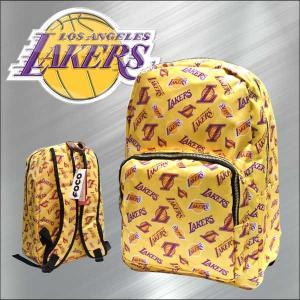 バックパック NBA LOSANGELES LAKERS(イエロー/ゴールドジップ)縦約40cm レイカーズ カバン リュック アメリカ直輸入 公式ライセンス|aicamu