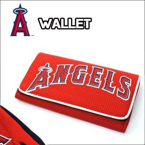 3つ折り 長財布 ロサンゼルス・エンジェルス(メッシュ)MLB ANGELS エンゼルス グッズ メンズ ウォレット ユニフォーム素材 アメリカ直輸入|aicamu