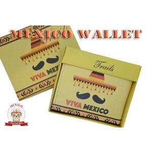 メキシコ柄 フェイクレザー 2つ折り財布 アメリカ輸入品 メキシコ雑貨 合皮素材 ウォレット ハンドクラフト|aicamu
