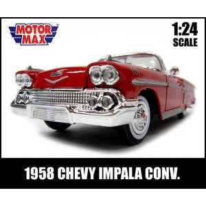 ミニカー 1/24 1958 CHEVY IMPALA CONV. (レッド) アメ車 シボレー シェビー インパラ MOTORMAX ローライダー|aicamu