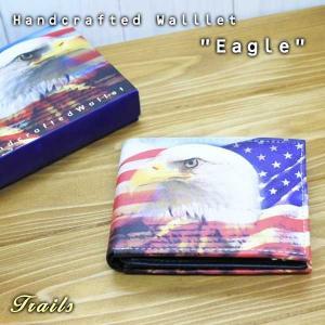 2つ折り財布 星条旗×イーグル フェイクレザー アメリカ輸入品 アメリカ雑貨 合皮素材 ウォレット ハンドクラフト USA 鷲|aicamu