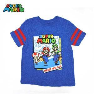 #03 スーパーマリオ グッズ キッズTシャツ(袖ライン入り霜降りブルー/HERE WE GO!)(6Tサイズ)SUPERMARIO ネコポス発送可能 aicamu