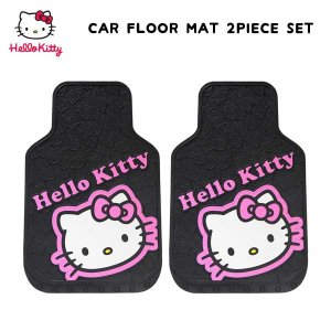 HELLO KITTY フロント用カーマット(文字&フェイス) ラバー素材 車のラバーマットフロント2枚ワンセット キティ aicamu