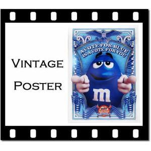 ヴィンテージ風ポスター「m&m's AVOTE FOR BLUE」縦:約36.5cm×横:約26cm|aicamu