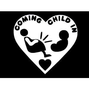 カッティングステッカー COMING CHILD IN (全4色) 車 バイク アメリカン 妊婦 デカール|aicamu
