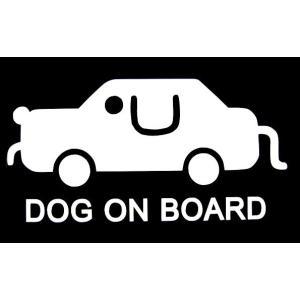 カッティングステッカー DOG ON BOARD ドッグ 車 バイク アメリカン セーフティデカール|aicamu
