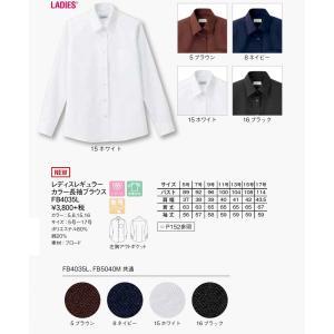 FB4035L レディスレギュラーカラー長袖ブラウス 5号~17号|aichi-embroidery