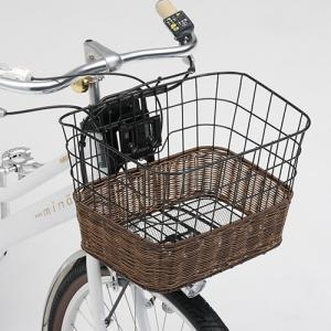 ヤマハ電動アシスト自転車用籐風角型ワイヤーバスケットTB09AY(Q1HRINY04001)+取付ステー(Q5KYSK051P24)|aida-sangyo