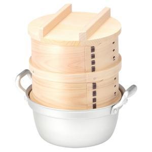 鍋付ミニ和せいろ 18-2 / 国産ひのき蒸篭・蓋・鍋のセット / 二段|aidca