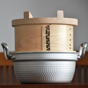 鍋付ミニ和せいろ 22-2 / 国産ひのき蒸篭・蓋・鍋のセット / 二段|aidca