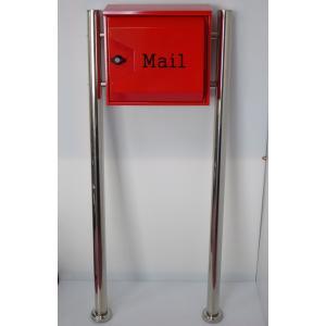 郵便ポスト郵便受けおしゃれかわいい人気北欧モダンデザイン大型メールボックススタンド型プレミアムステンレスレッド赤色ポストpm041s aihome