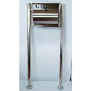 郵便ポスト郵便受けおしゃれかわいい人気北欧モダンデザイン大型メールボックススタンド型プレミアムステンレスシルバーステンレス色ポストpm091s aihome