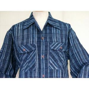 藍染雨絣変わり織 長袖オープンシャツ|aiira-ensyu