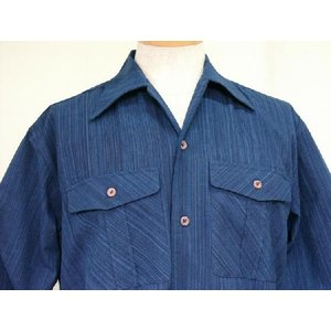 藍染雨絣 長袖オープンシャツ|aiira-ensyu
