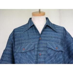 藍染雨絣ロングスラブ 長袖オープンシャツ|aiira-ensyu