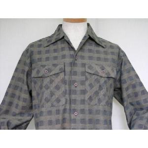 藍茶市松柄 長袖オープンシャツ|aiira-ensyu