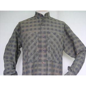 藍茶市松柄 スタンドカラーシャツ|aiira-ensyu