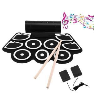 電子ドラム Iseebiz ポータブル 9個パッド ドラムセット ホーン二つ内蔵 折りたたみ USB給電 MP3・USB・PHONES対応可能 マルチ伴奏機能 フットペダル付き